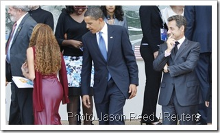 Barack Obama et Nicolas Sarkozy au G8 de l'Aquila en Italie