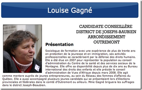Louise Gagné Vision Montréal politique municipale