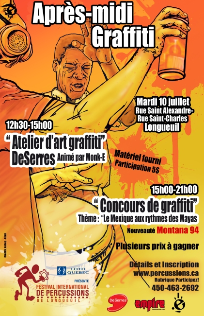 concours graffiti festival international percussions longueuil atelier monk-e
