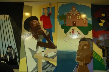 murale centre jeunesse cité des prairies jeunes boutique équitable t-shirt