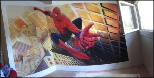 spiderman murale design chambre d'enfant adolescents ados