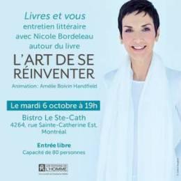 Nicole Bordeleau littérature conférence livres et vous l'art de se réinventer